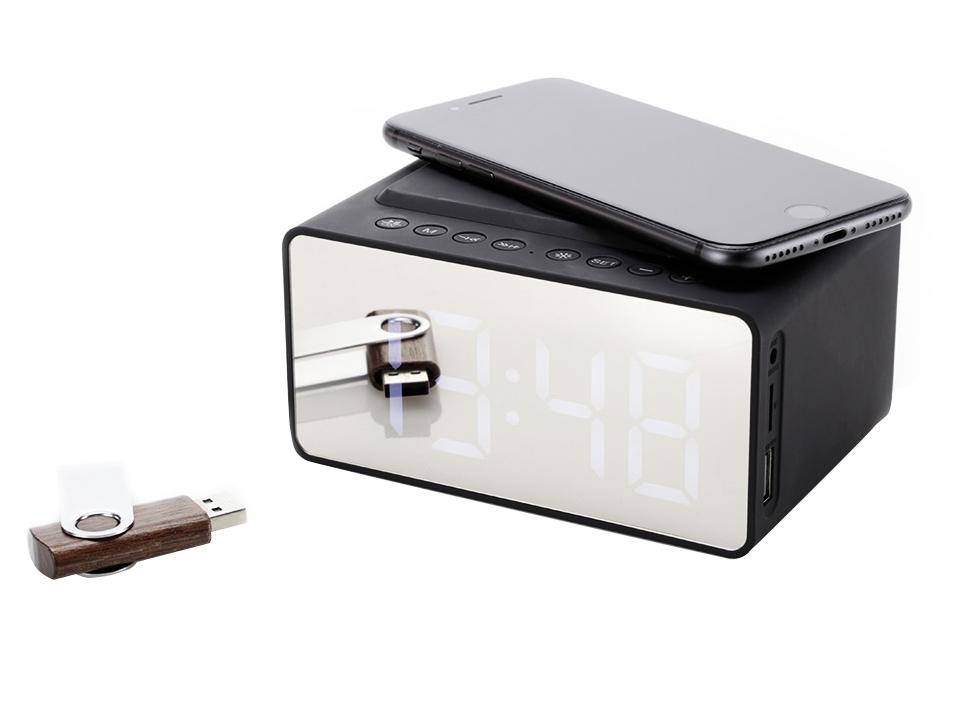 Draadloze oplader met 5W speaker en alarmklok - Yipp & Co