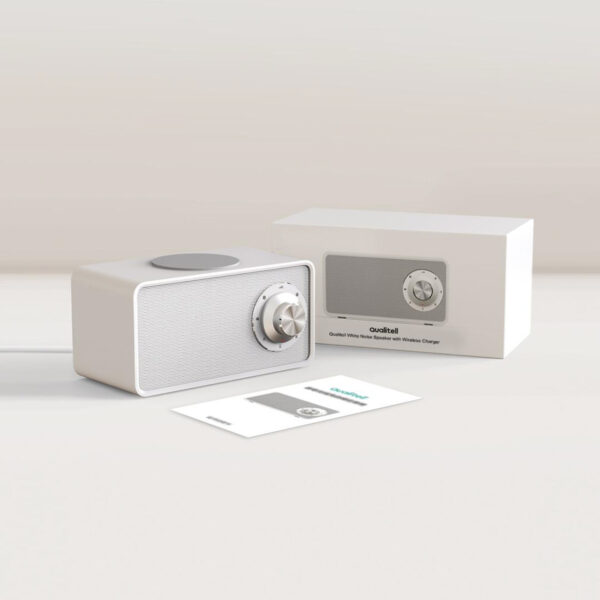 Speaker & draadloos lader white noise verpakking - Yipp & Co