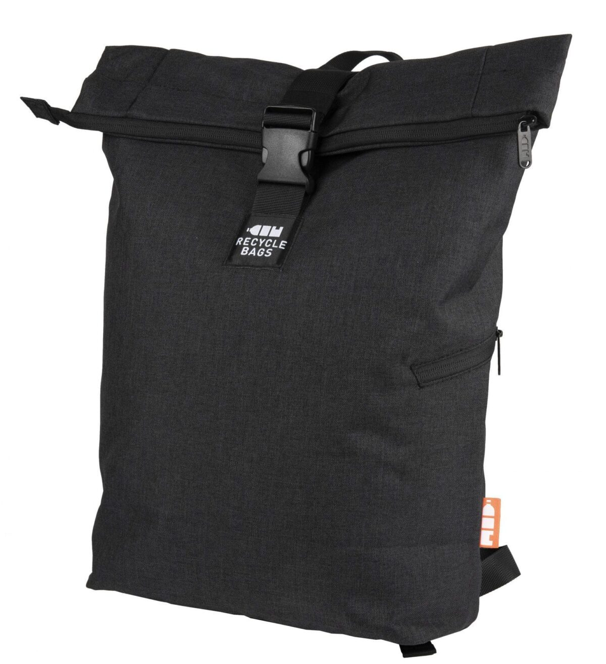 rPET Backpack Roll-top zwart - Yipp & Co